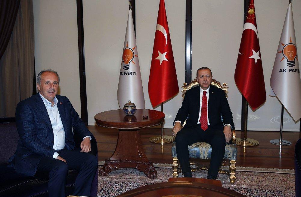 Cumhurbaşkanı adayı Muharrem İnce, Tayyip Erdoğan'ı ziyaret etti