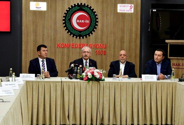 Kılıçdaroğlu, Hak-iş Başkanı Mahmut Aslan'ı ziyaret etti