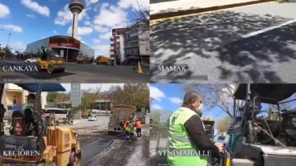 Mansur Yavaş: 4 günde 30 noktada 22 bin ton asfalt serildi