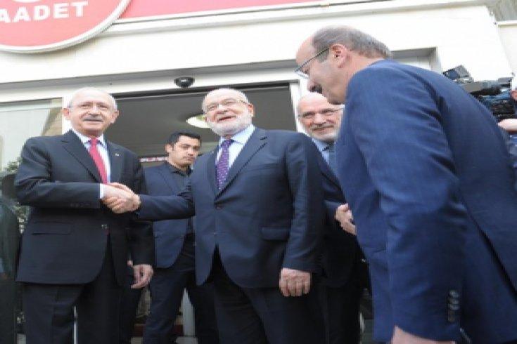 Kılıçdaroğlu, Saadet Partisi Genel Başkanı Temel Karamollaoğlu'nu ziyaret etti