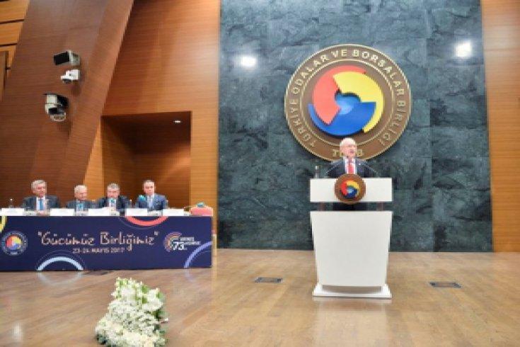 Kılıçdaroğlu, TOBB 73. Genel Kuruluna katılarak bir konuşma yaptı