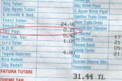 Elektrik faturalarında TRT payına devam