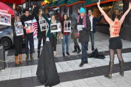 İranlı kadınlardan FEMEN tarzı protesto