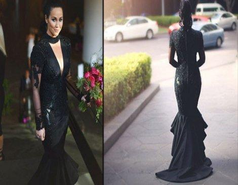 Sophie düğününde siyah gelinlik giydi