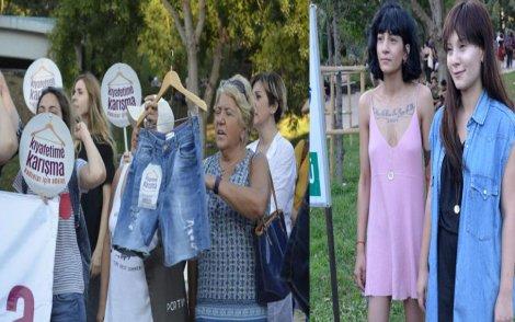 Maçka Parkı'nda genç kadının kıyafetine karışan güvenlik görevlisi protesto edildi