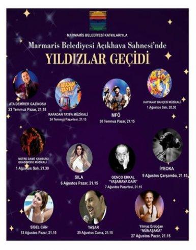 Marmaris Belediyesi Amfi Tiyatro Açık Hava Sahnesi'nde yıldızlar geçidi