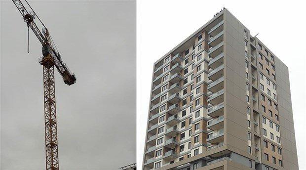 3 aydır maaşları ödenmeyen inşaat işçileri çatıya ve vince çıkarak eylem yaptı