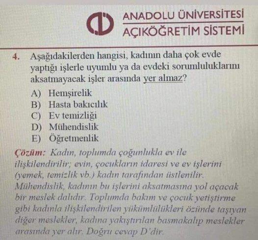 Açıköğretim Fakültesi sınavında skandal soru
