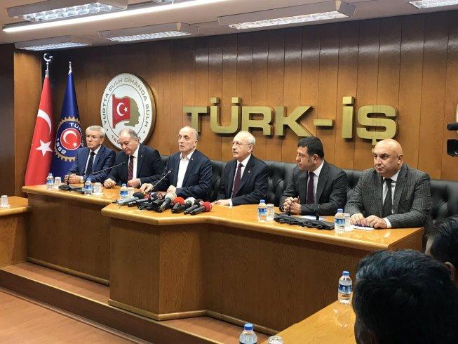 Kılıçdaroğlu Türk-İş'i ziyaret etti: Asgari ücretli vergi yükü altında eziliyor