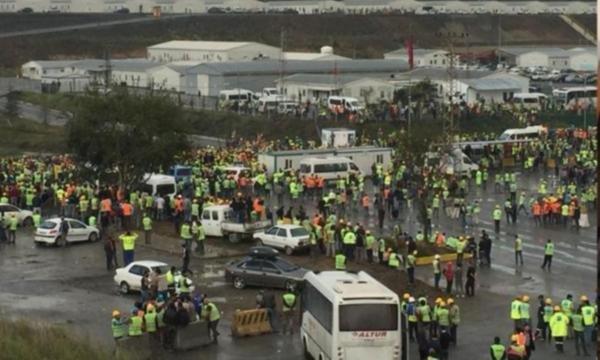 Kötü çalışma koşullarına karşı eylem yapan 3. Havalimanı işçilerine müdahale