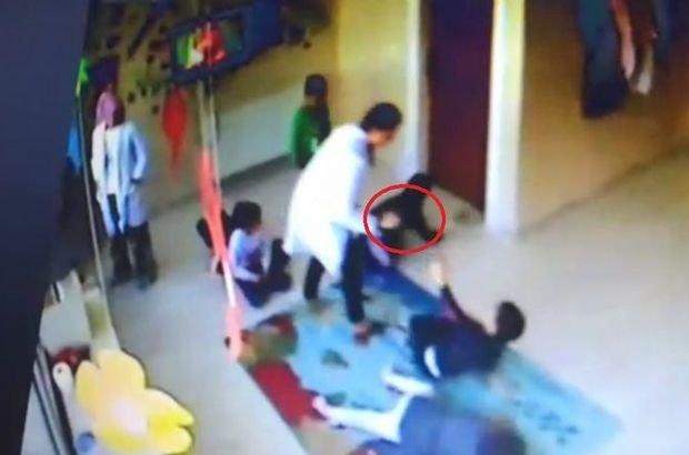 Kreşteki çocukları tekme ve terlikle döven 2 öğretmen tutuklandı