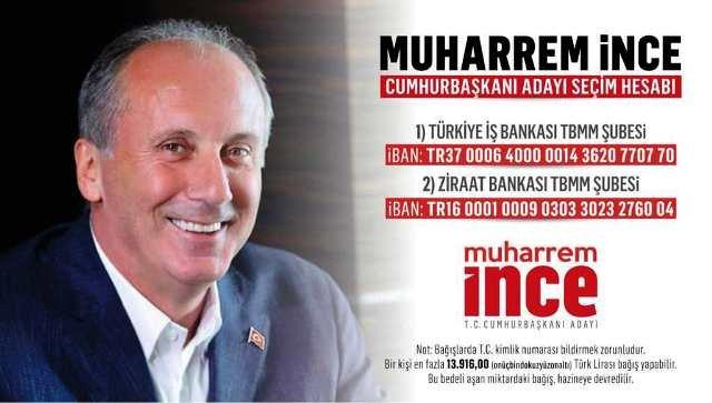 Cumhurbaşkanı adayı Muharrem İnce'nin seçim kampanyası için bağış hesabı açıldı