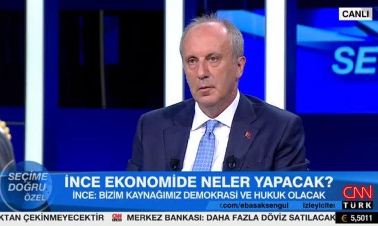 Muharrem İnce; 'Sayın Erdoğan, Türkiye'nin 450 milyar dolar borcu var bunun 320 milyar doları son 16 yılda yapılmış'