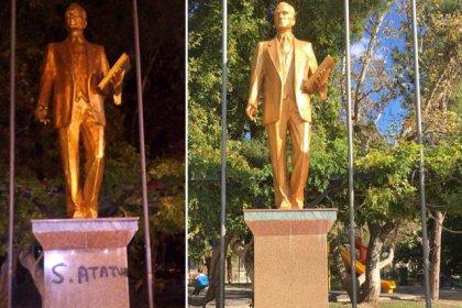 Atatürk heykeline sprey boyayla yazı yazan 3 çocuk gözaltına alındı