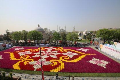 Dünyanın en büyük lale halısı Sultanahmet'te sergileniyor