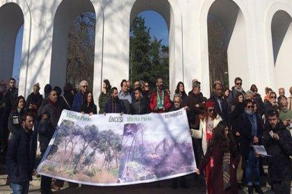 Maçka Parkı'nda tünel inşaatı protesto edildi