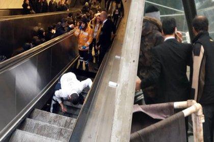 Maslak metrosunda yürüyen merdiven çöktü: 1 kişi yaralandı