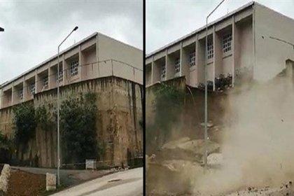 Ordu'da bir okulun istinat duvarı çöktü, 577 öğrenci tahliye edildi