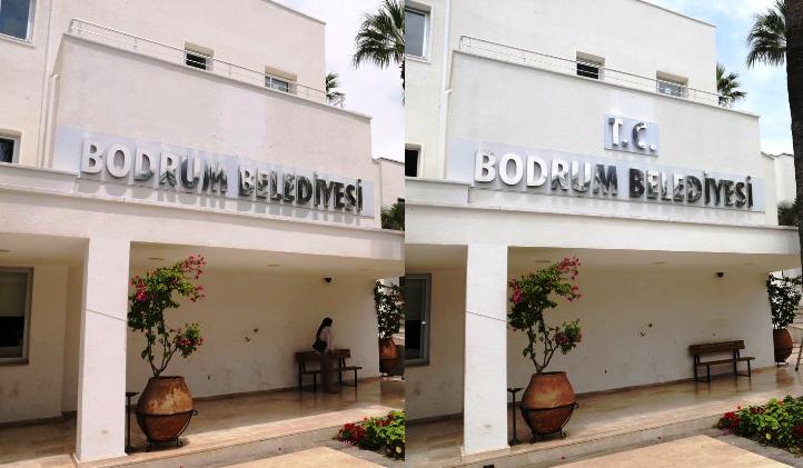 Bodrum Belediye binası tabelasına T.C. ibaresi eklendi