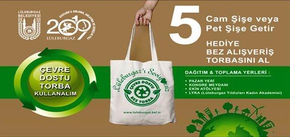 a1e2fdaafd5f8 Lüleburgaz Belediyesi'nden '5 şişe getirene bez çanta' kampanyası ...