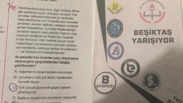 Skandal deneme sınavı: Beşiktaş, Kadıköy, Moda'da doğan, büyüyen çocuklar ezanı bilmezler