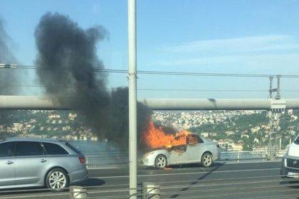 15 Temmuz Şehitler Köprüsü'nde bir kişi aracını yaktıktan sonra intihar etti