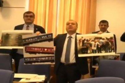 CHP'li vekiller Ulaştırma Bakanı Turhan'ı bütçe komisyonunda Çorlu tren faciasının fotoğraflarıyla karşıladı