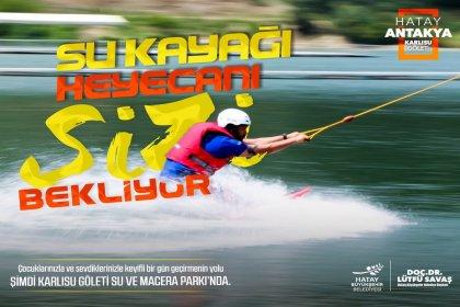 Karlısu Göleti Su ve Macera Parkı'nda su kayağı heyacanı