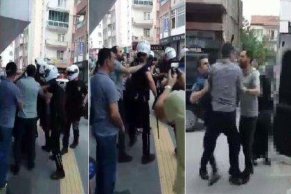 Sokakta sigara içen bir kadını darp ettiği için gözaltına alınmak istenen şahıs ile polis arasında arbede yaşandı