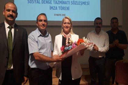 Trakya'nın tek kadın belediye başkanı Özlem Becan, Tüm Yerel Sen ile Sosyal Denge Tazminatı Sözleşmesini en üst limitten imzaladı