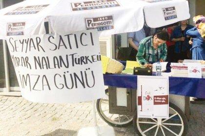 Yazar Nalan Türkeli, son kitabı ''Dilli Don'' için seyyar tezgâhında imza günü yaptı
