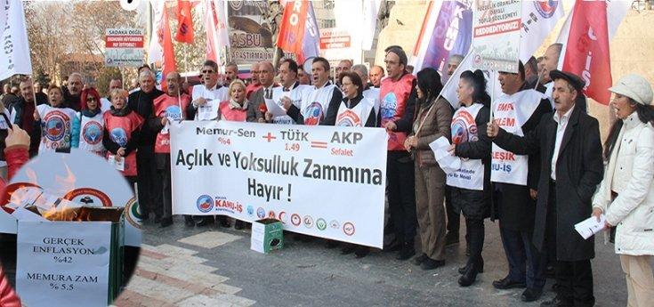 Birleşik Kamu İş, 2020 maaş zamlarını bordro yakarak protesto etti