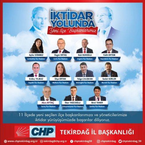 CHP Tekirdağ 11 ilçe başkanını seçti; CHP Tekirdağ 37. olağan il kongresi 23 Şubat'ta yapılacak