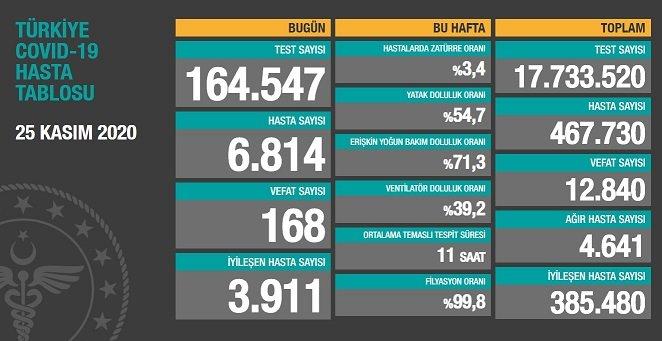 Koronavirüs'ten Türkiye'de 25 Kasım'da 168 toplamda 12.840 kişi öldü