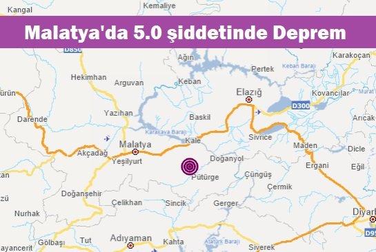 Malatya'da 5.0 şiddetinde Deprem