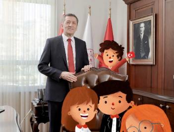 Milli Eğitim Bakanı Ziya Selçuk'un koltuğuna çizgi karakterler oturdu!