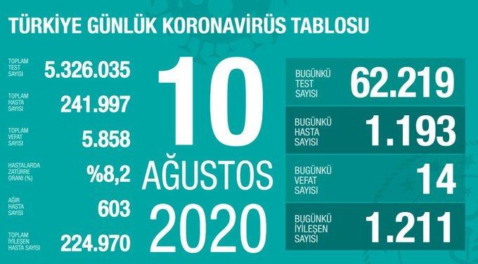 Türkiye'de 10 Ağustos'da Covid_19'dan 14 toplamda 5.858 kişi öldü