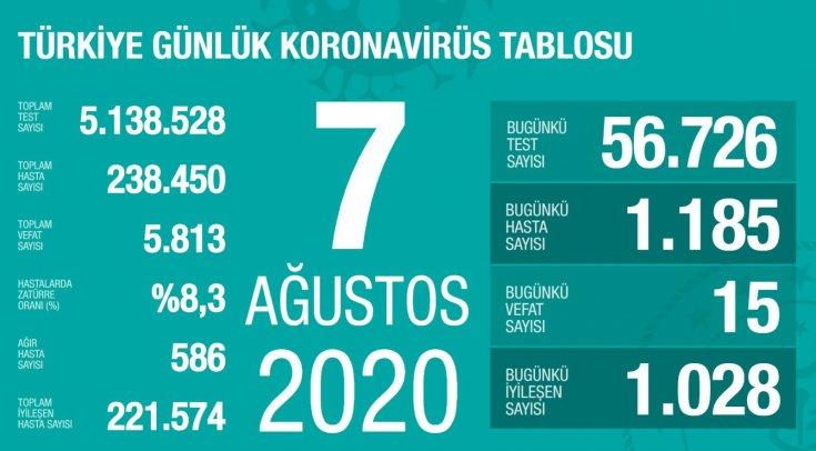 Türkiye'de 7 Ağustos'da Covid_19'dan 15 toplamda 5.813 kişi öldü