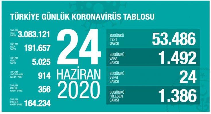 Türkiye'de Covid-19 nedeniyle 24 kişi daha hayatını kaybetti, ölü sayısı 5 bin 25'e, vaka sayısı 191 bin 657'ye yükseldi