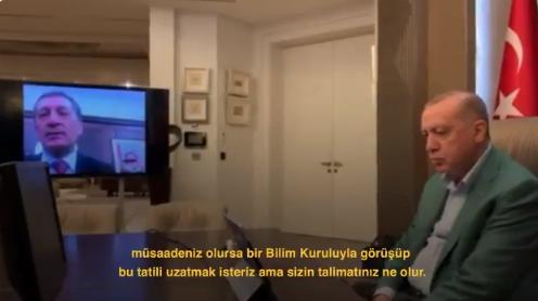 Ziya Selçuk 'Okul tatilini uzatmak isteriz, sizin talimatınız ne olur' diye sordu, Erdoğan 'Bilim Kurulu'nun tavsiyelerine uyalım' dedi