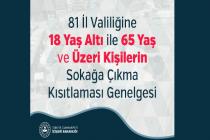 İçişleri Bakanlığı, 81 İl valiliğine 18 yaş altı ile 65 yaş ve üzeri kişilerin sokağa çıkma kısıtlaması hakkında genelge gönderdi