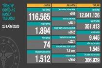 Koronavirüs'ten Türkiye'de 20 Ekim'de 74 toplamda 9.445 kişi öldü