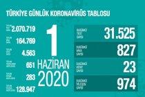 Türkiye'de 1 Haziran'da Covid_19'dan 23 toplamda 4.563 kişi öldü