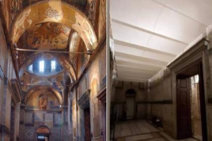 Camiye çevrilen Kariye'de freskleri perdeyle kapadılar