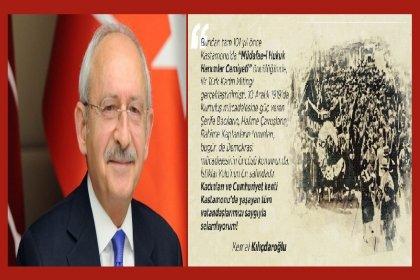 CHP Genel Başkanı Kemal Kılıçdaroğlu'ndan, 101. yıl önce Kastamonu'da yapılan İlk Türk Kadın Mitingi paylaşımı
