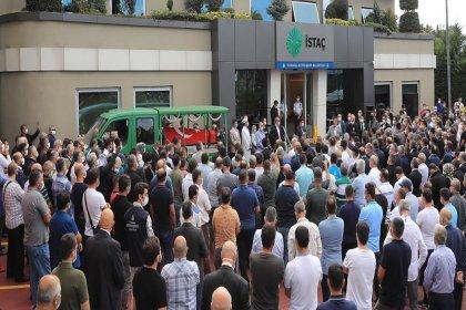 İBB İştirakı İSTAÇ Genel Müdürü Mustafa Canlı için Genel Müdürlük binası önünde tören düzenlendi ve defnedilmek üzere memleketi Gümüşhane'ye yollandı