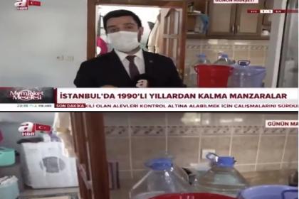 İstanbul'da su kesintisi haberi yapmak için bir eve giren A Haber muhabiri çamaşır makinesinin çalıştığını fark etmedi, alay konusu oldu