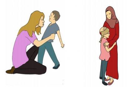 MEB'den sembollerle gericilik: Şiddet uygulayan kadınlar başı açık, şefkat gösteren kadınlar türbanlı olarak resmedildi