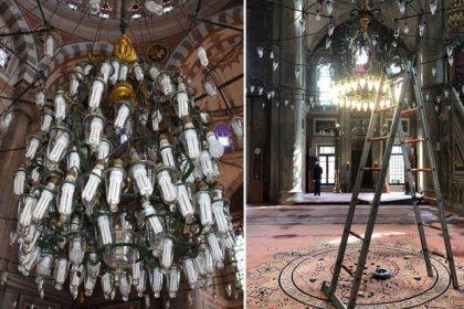 Tarihi Laleli Camii'nin avizelerine tasarruflu ampul takmışlar