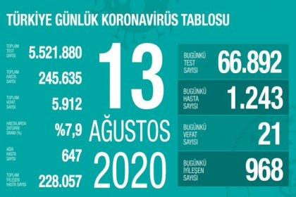 Türkiye'de 13 Ağustos'da Covid_19'dan 21 toplamda 5.912 kişi öldü